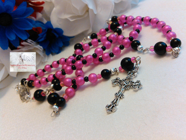 Pink & Black Catholic Rosary Handmade Traditional Rosary