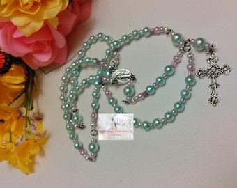 Blue & Lilac Catholic Rosary Handmade Traditional Rosary LR#0061