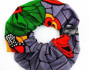 Fumaya African scrunchie, African fabric, African print, floral design, handmade accessories, hair tie, hair accessories, gift