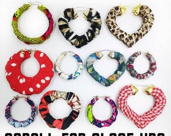 Random wraps, hoop earrings, wrapped earrings, handmade,blackened business,gift for her,fun earrings.