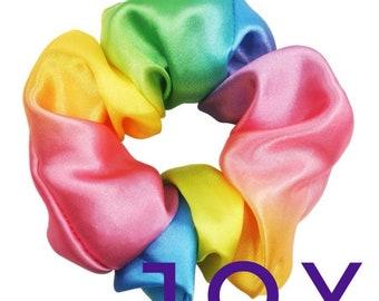 Rainbow scrunchie, satin rainbow, LGBT hair tie, ombre rainbow, matching accessories, handmade, gift for her.