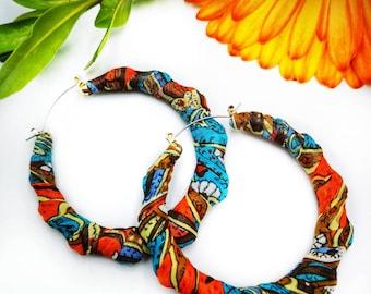 ok yah, Paisley earrings, orange and blue, handmade, gift for her, wrapped earrings, fabric earrings, fun earrings, made to order, patterned