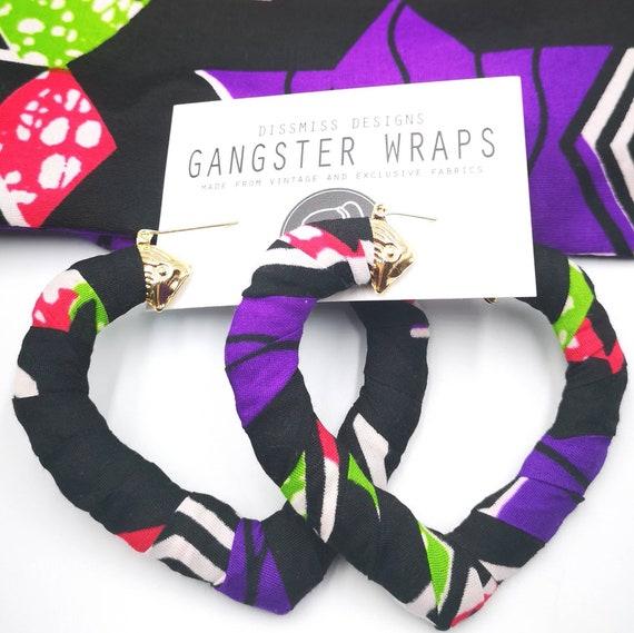 Funky Hip Hop Purple Leather Wrapped Door Knocker Hoop Earrings Last One