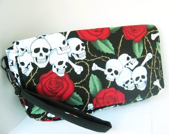Red Rose and Skull Clutch, Rose and Skull Wristlet, Small Purse, Floral Skull Clutch
