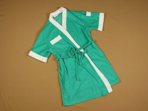 Teal terry cloth robe, 1970s vintage, size small - image 2