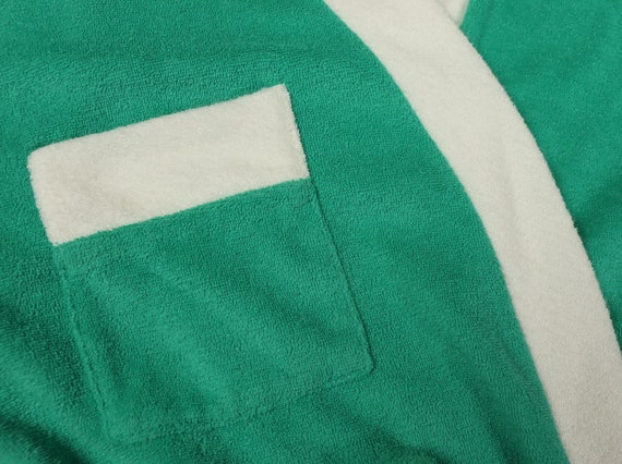Teal terry cloth robe, 1970s vintage, size small - image 3