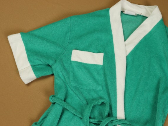 Teal terry cloth robe, 1970s vintage, size small - image 5