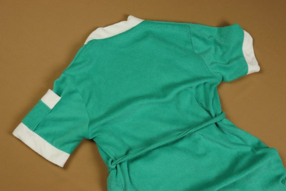 Teal terry cloth robe, 1970s vintage, size small - image 6