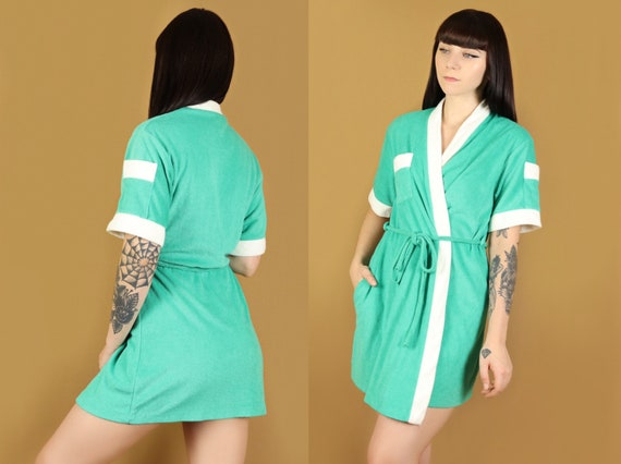Teal terry cloth robe, 1970s vintage, size small - image 1