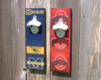 Fathers Day Gift University of Michigan wall art bottle opener / Magnetic Cap Catcher / Michigan Wolverines wall mounted opener