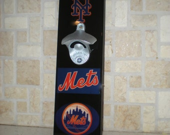 Cool NY Mets Bottle Opener / Magnetic Cap Catcher / Wall Mounted