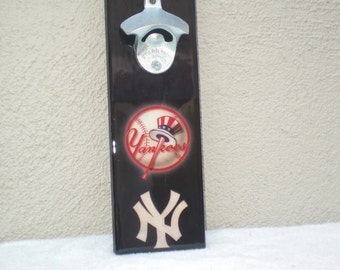 NY Yankees wall art bottle opener / Magnetic Cap Catcher / Yankees Wall Mounted opener/ NY Yankees bar sign