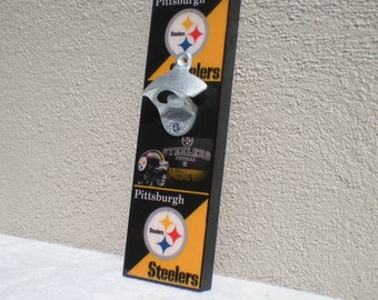 Cool Steelers Bottle Opener / Magnetic Cap Catcher / Wall Mounted - Pittsburgh Steelers/Fathers Day gift