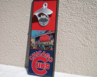 Chicago CUBS wall mount bottle opener / magnetic Cap Catcher / Wall Mounted/ Cubs bar sign