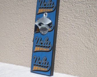 Ucla BRUINS wall mount bottle opener / magnetic Cap Catcher / Wall Mounted/ UCLA bar sign