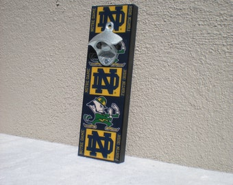 Fathers Day Gift Notre Dame bottle opener / Magnetic Cap Catcher / Wall Mounted / Notre Dame fighting Irish bar sign