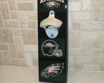 Philadelphia EAGLES wall mount bottle opener / magnetic Cap Catcher / Wall Mounted/ Eagles bar sign