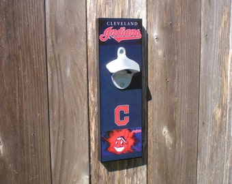 Fathers Day Gift Cool Cleveland INDIANS wall mount bottle opener / magnetic Cap Catcher / Wall Mounted/ Indians bar sign