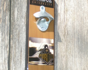 Fathers Day Gift Purdue University bottle opener / Magnetic Cap Catcher/ Boilermakers / bar sign