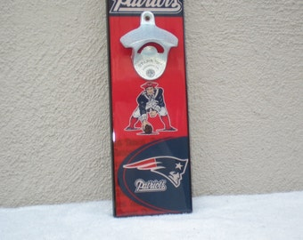 New England Patriots Bottle Opener // Magnetic Cap Catcher // Wall Mounted - The Patriots! Fathers Day gift