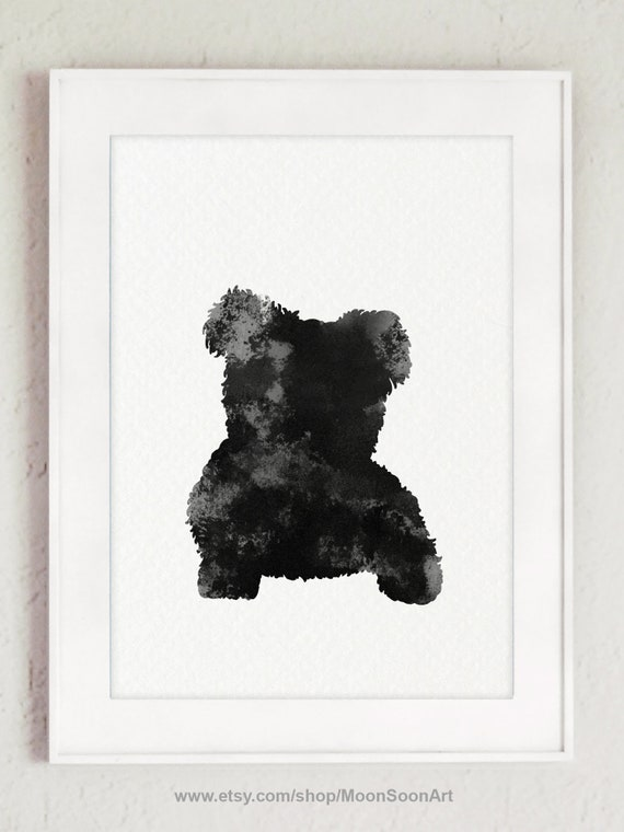 Maltese Silhouette Greyish Watercolor Picture Colorful Doggie Etsy