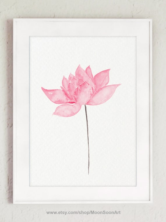 Pink Lotus Flower Painting Floral Watercolour Modern Art Etsy