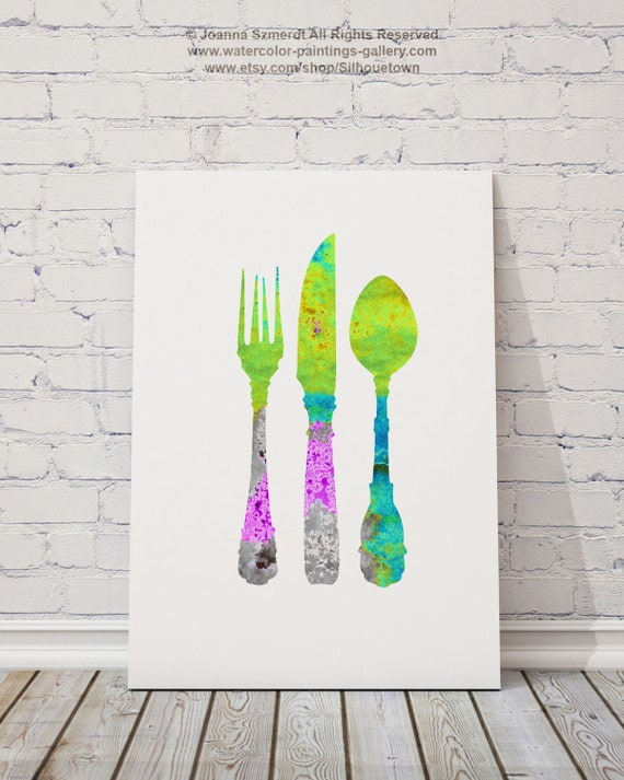 Kitchen Utensils, Set of 2, Colorful kitchen silhouettes, Wall Art Prints,  Rolling pin, Whisk, Serving spoon, Fork, Knife, Set of 3