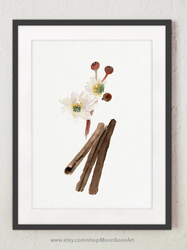 CINNAMON STICKS SPICE KITCHEN SPICES DRAWING PAINTING ART PRINT ON REAL CANVAS