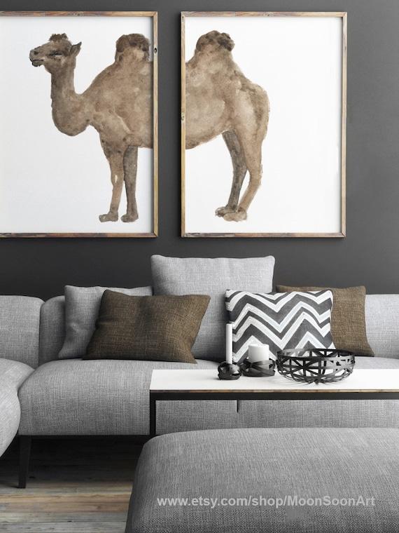 Camel Wall Hanging Watercolor Set 2 Drawings Brown Dessert Etsy
