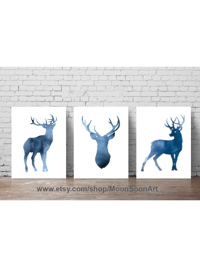 ba004aafe Navy Blue Deer Watercolor Silhouette Set 3 Painting Abstract | Etsy