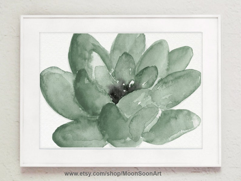 Lotus Flower Green Home Decor Watercolor Image Colorful Etsy
