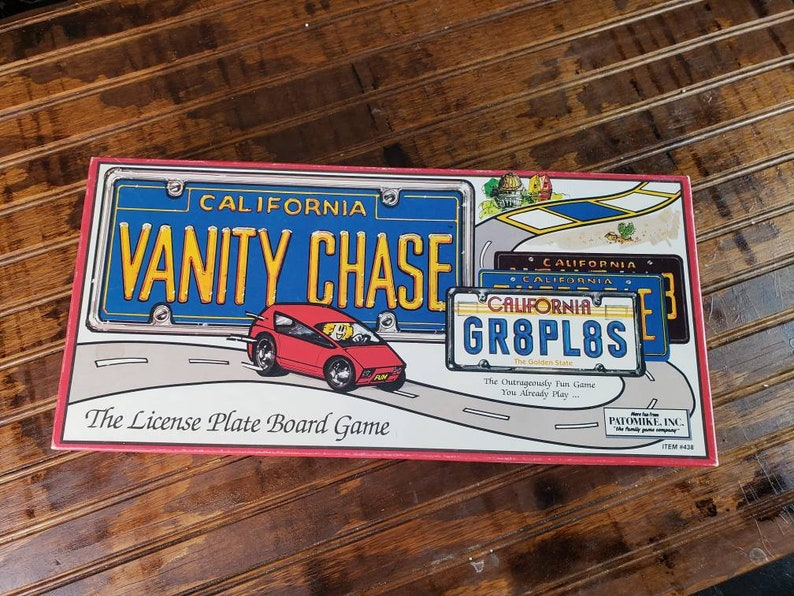1988 Vanity Chase the License Plate Board Game   vintage