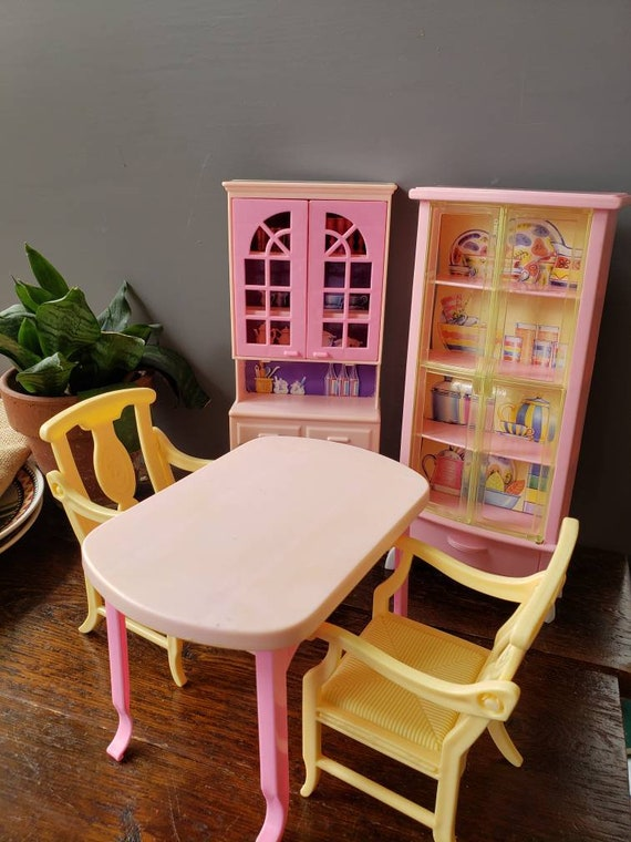 1990s Mattel Barbie 5 Piece Dining room Set table chairs hutch
