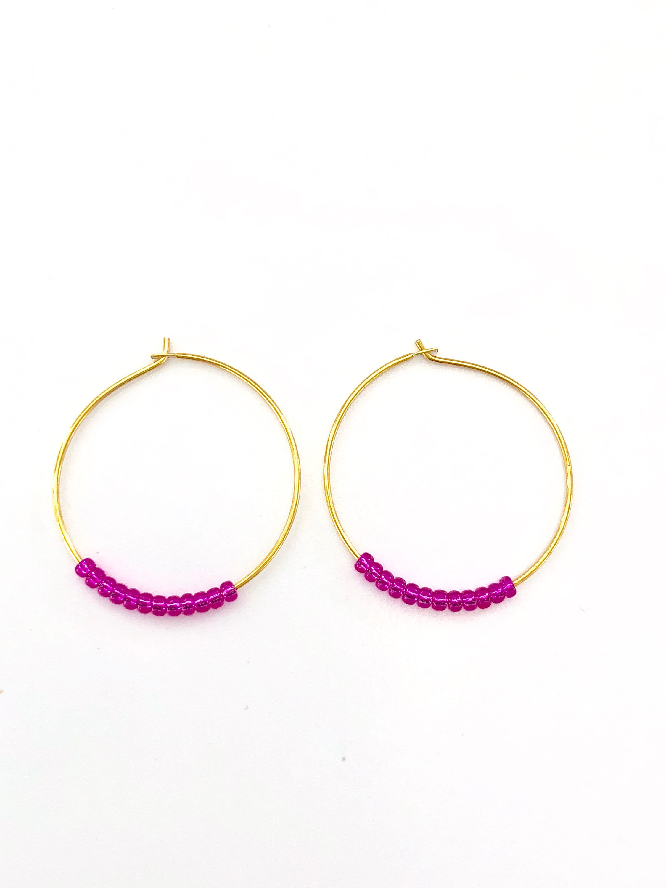 Hoop earrings gold hoop earrings seed bead earrings