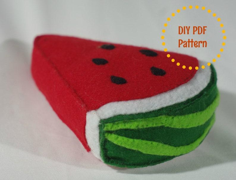 DIY PDF Pattern  Realistic Waldorf Inspired Felt Watermelon image 0