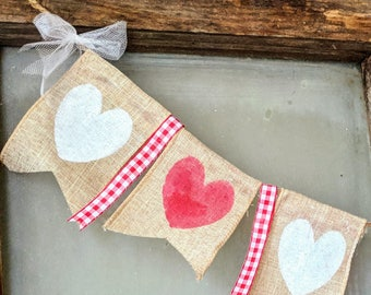 Valentine's Day Heart Garland | Hearts | Gingham | Sweetheart | Love | tulle | Red and white | XOXO | Painted Hearts | Heart Decor