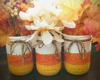 Candy Corn | Mason Jars | Halloween | Decorations | Decor | Mantle | Table Decor | Storage | centerpiece | Fall | Glass | Autumn | Fall