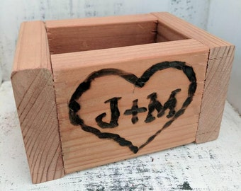 Wedding | wood box | centerpiece | reception | custom | flowers | initials | branding | anniversary | gifts | favors | table decor