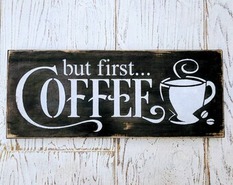 But First Coffee | sign | rustic | Java | Joe | gift | coffee station | wood | distressed | kitchen