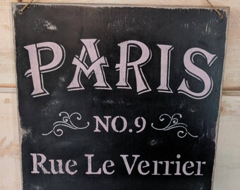 Paris sign | girl's room decor | black and pink | Rue le Verrier | French decor | wall decor | wood signs | French cottage | ooh la la