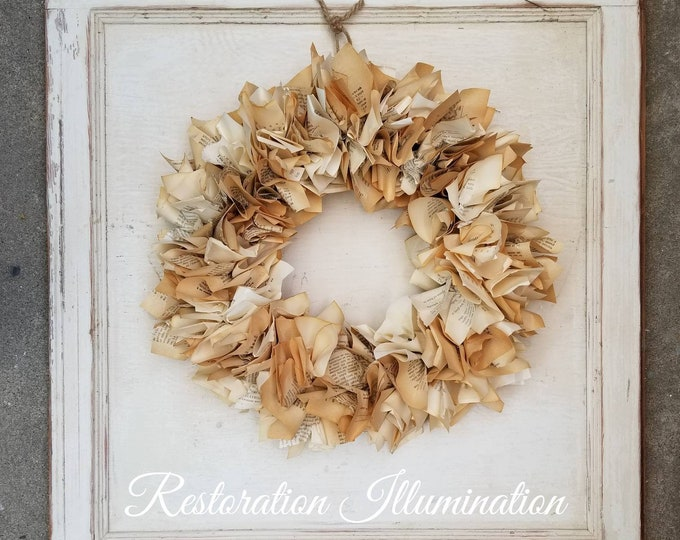 Featured listing image: Vintage Paper Wreath | Book Pages | Christmas Wreath | Book Art | Repurposed Wreath | Rustic Home Decor | Cottage Home Decor | Door Decor |