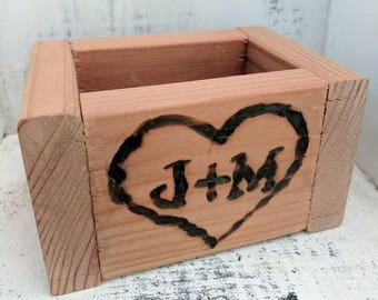 Set of 5 Wood Boxes | Wedding | Reception |  centerpiece box | flowers | custom | initials | anniversary | gift ideas | favors | table decor
