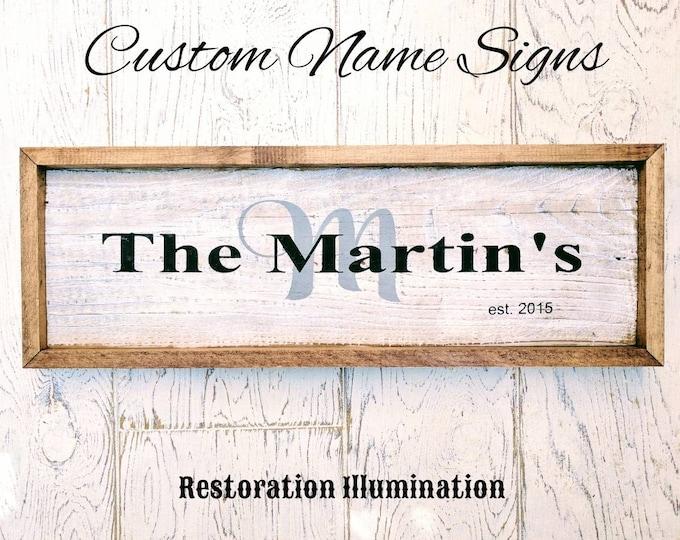 Featured listing image: Family Name Signs | custom | wood | Wedding | Gift | Newlywed | Baby | Housewarming | rustic | farmhouse | Marriage | Birth | Nursery |