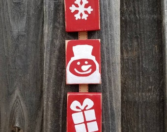 Christmas wood block decor | snowflake | snowman | presents | gifts | rustic Christmas | primitive Christmas | farmhouse Christmas | cottage
