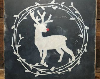 Christmas | Reindeer  | Rudolph | holidays | farmhouse | Cottage | rustic | wreath | wall decor| sign | Distressed | Chalkboard Style