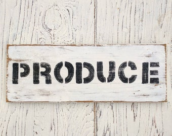 Produce Sign | farmhouse | Rustic | Farmers Market | Fixer Upper | home decor |distressed |  porch | kitchen decor | white with black | wood
