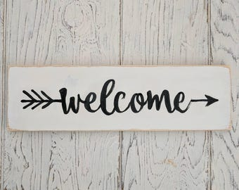 Welcome Sign | White with black | Rustic | sign | home decor | porch | arrow | farmhouse | welcome |
