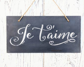 Je T'aime | French | I Love You | hearts | romantic signs | wedding | Anniversary | date night gift | Valentine's day|