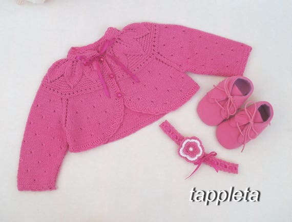 fc6bb995fbff Baby set hand knitted baby bolero fuchsia hot pink shoes for