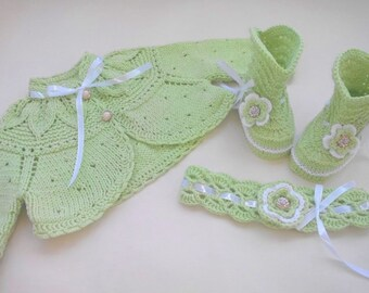 green baby sweater set, knitted bolero, socks and headband for baby girl, baptism sweater, light green, baby spring outfit, lime clothes set